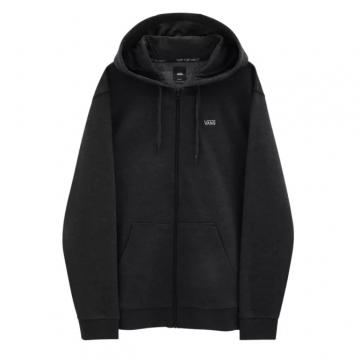 basic zip hoodie - heather black