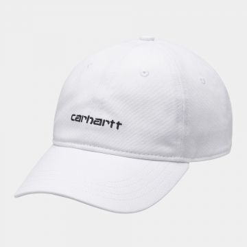 canvas script cap - white