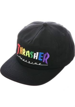 Thrasher rainbow cap - black/one size