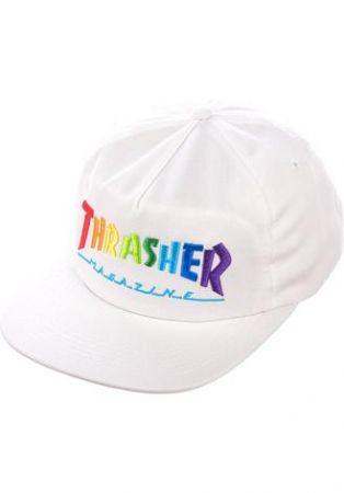Thrasher Rainbow Cap - white/one size