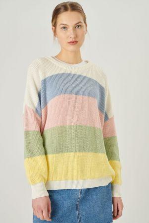 W Strick Pullover - striped